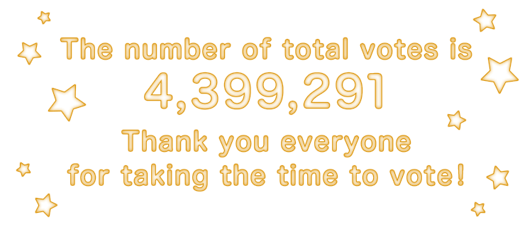 The number of total votes is 4,399,291. Thank you everyone for taking the time to vote!